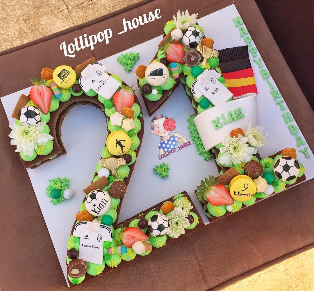 کیک عدد تم فوتبالی