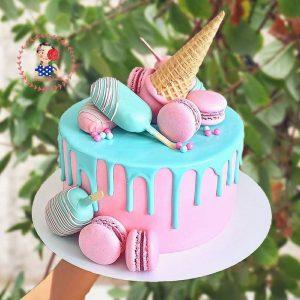 کیک خامه ای با طرح بستنی چوبی صورتی