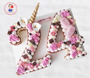 کیک عدد یونی کورن (اسب تک شاخ)