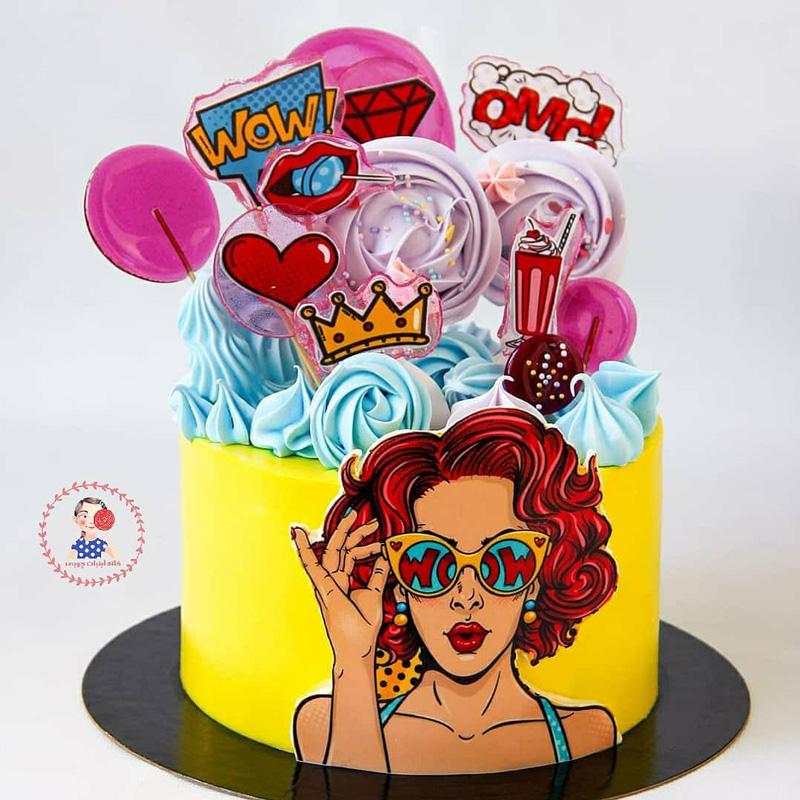 کیک پاپ آرت با تاپرهای آبنبات و مرنگ