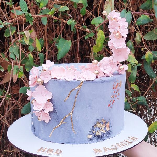 کیک تولد گلهای بهاری