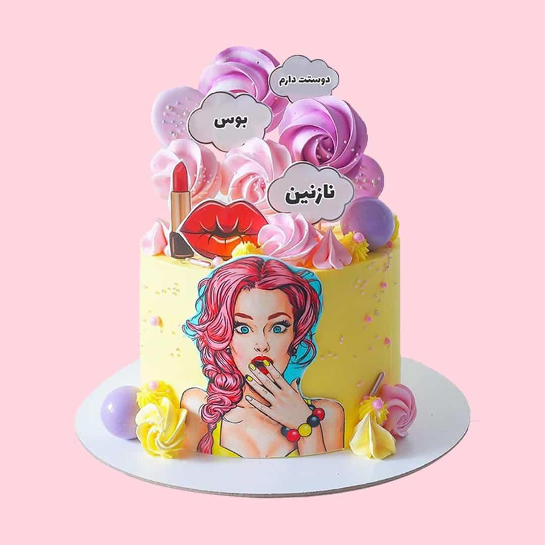 کیک پاپ آرت صورتی آبی
