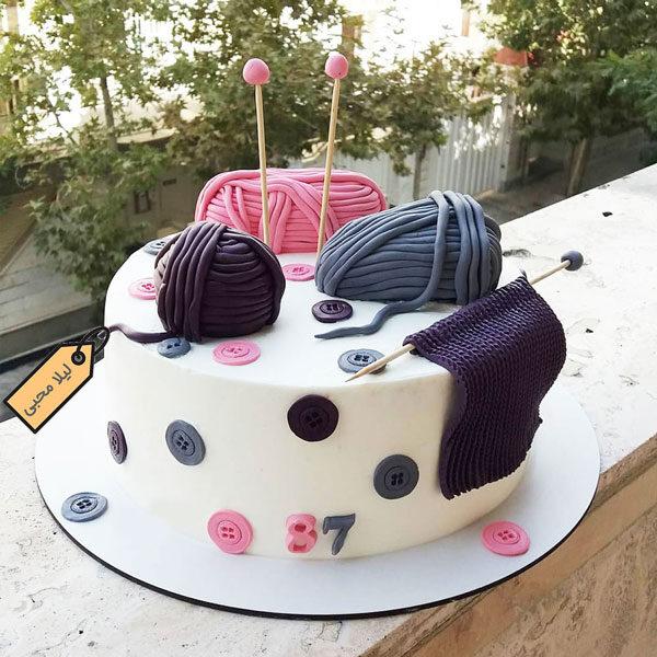 کیک تولد بافتنی