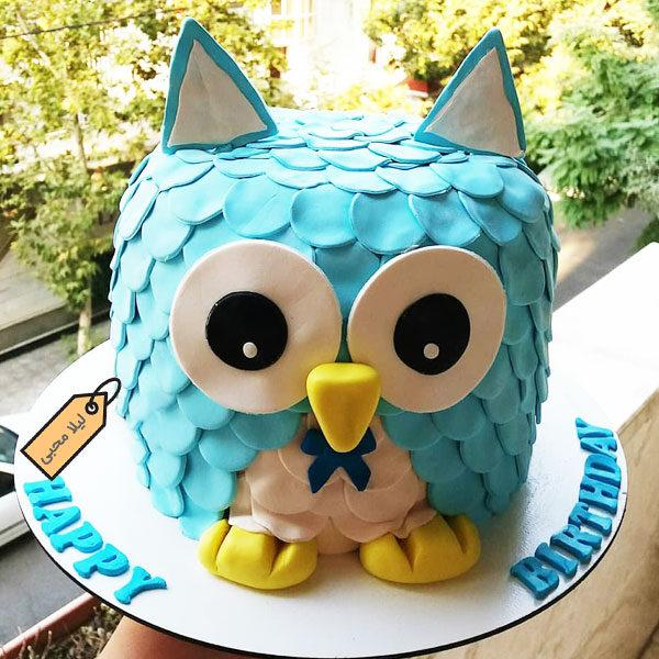 کیک فوندانت جغدی با مزه