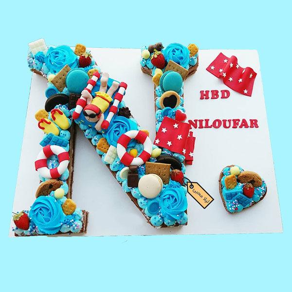 کیک حروف با تم ورزش شنا