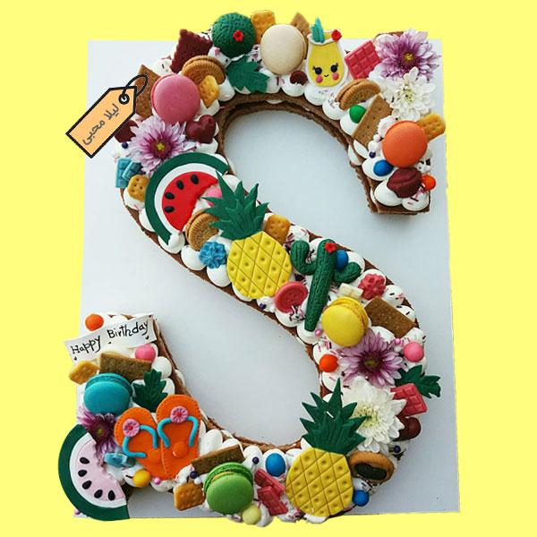 کیک حروف با تم تابستانی استوایی