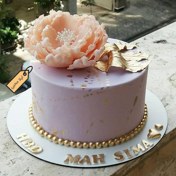 کیک فوندانت گل پیونی