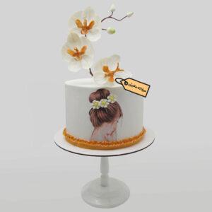 کیک فوندانت دخترانه با گل ارکیده شکری