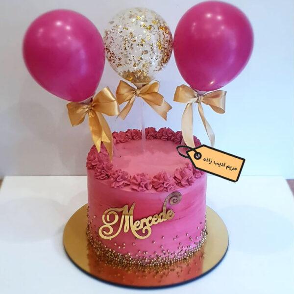 کیک خامه ای با تاپر بادکنکی قناد مریم ادیب زاده
