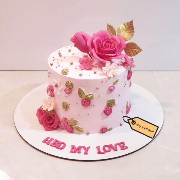 کیک خامه ای گل رز مریم ادیب زاده