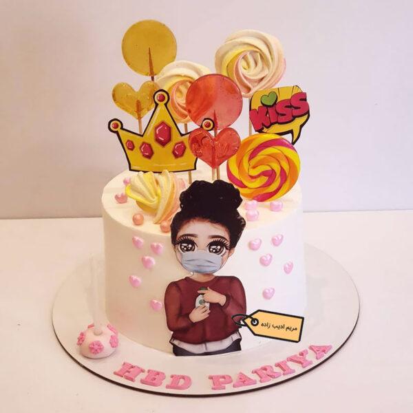 کیک دخترک با ماسک پاپ آرتی مریم ادیب زاده