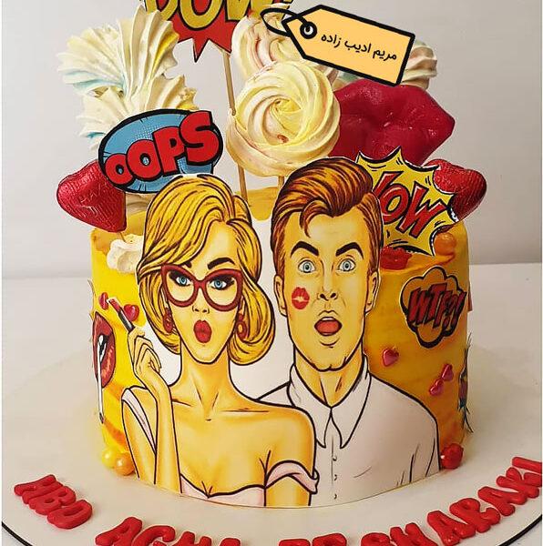 کیک پاپ آرت عشقولانه مریم ادیب زاده