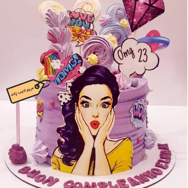 کیک پاپ آرت دخترانه بنفش