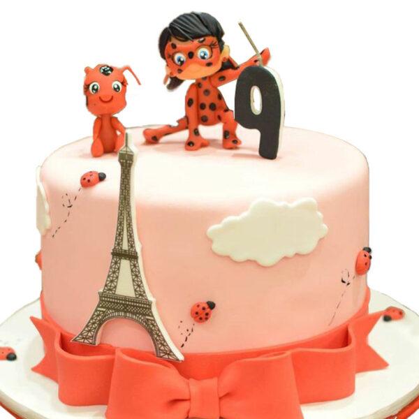 کیک دختر کفشدوزکی ساده