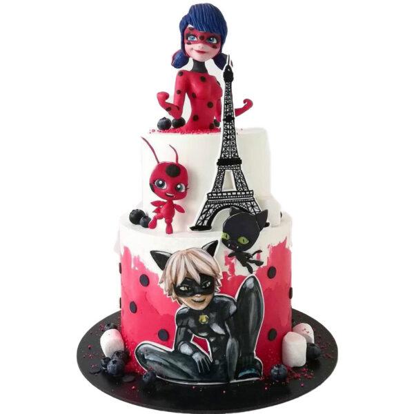 کیک دختر کفشدوزکی و پسر گربه ای