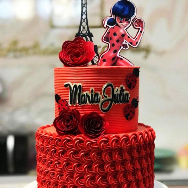کیک تولد دختر کفشدوزکی خامه ای