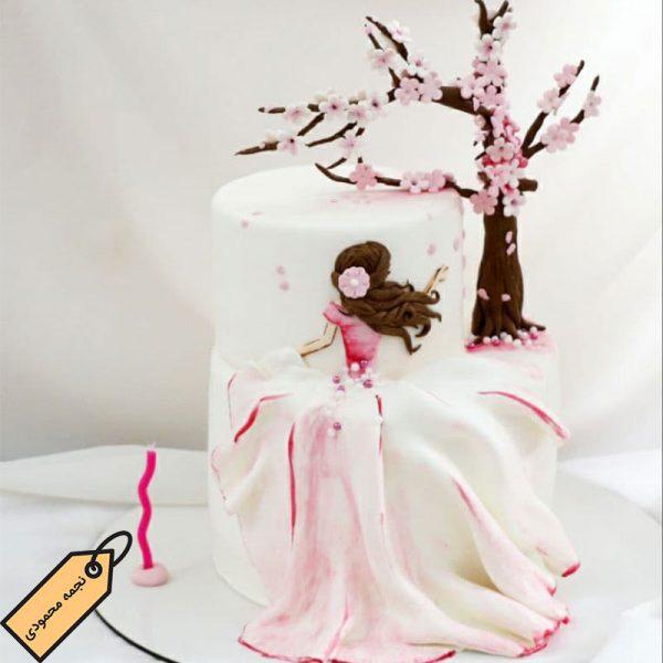 کیک فوندانت دختر بهاری