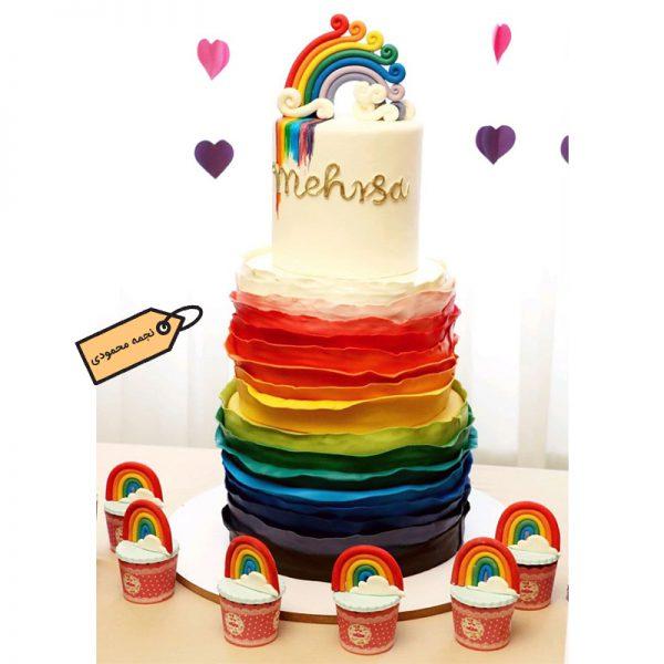 کیک فوندانت رنگین کمان