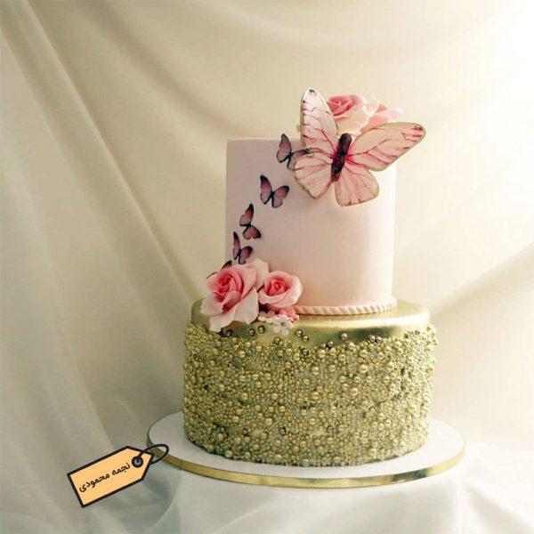 کیک زیبای پروانه فوندانتی