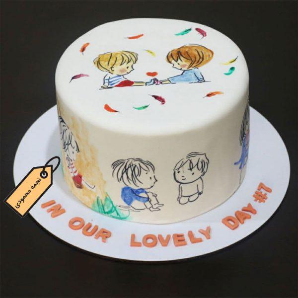 کیک فوندانتی نقاشی کودکانه